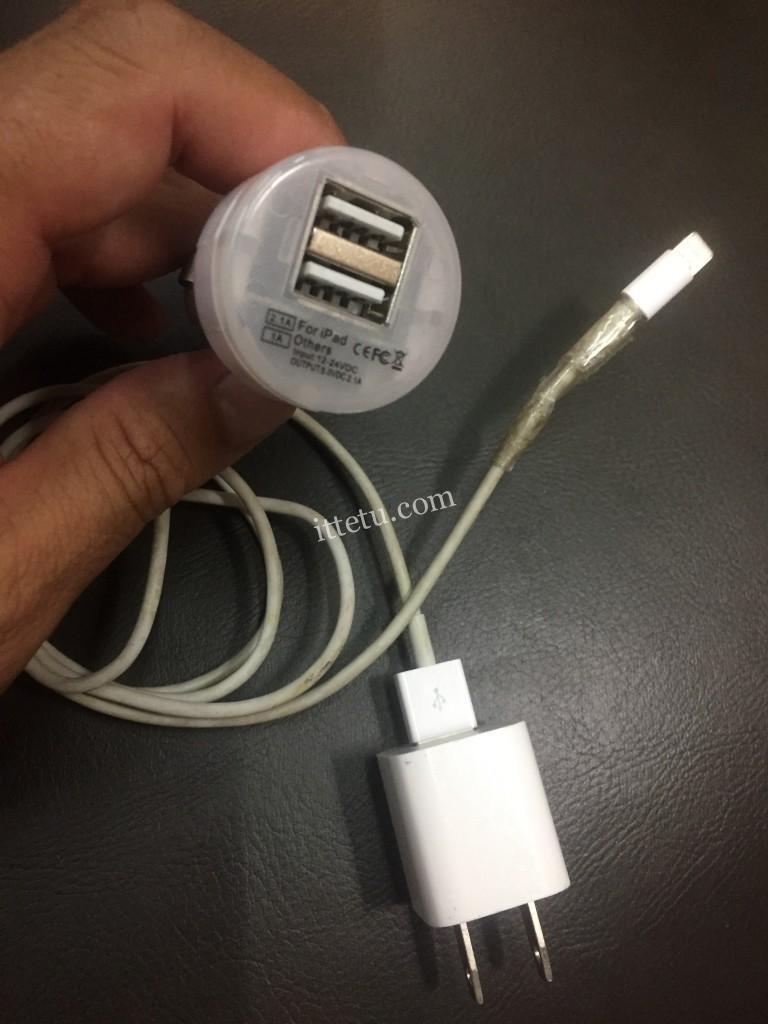iPhoneシガーソケット USB車載充電器 2連 カーチャージャー 2ポート